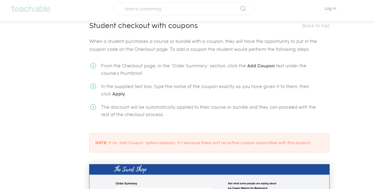 Teachable-Student Checkout Coupon