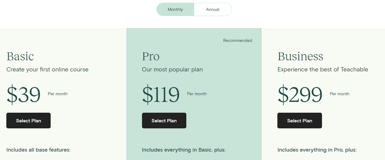 Pricing Monthly- Teachable Plans and pricing