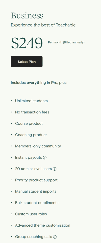 teachable business pricing plans